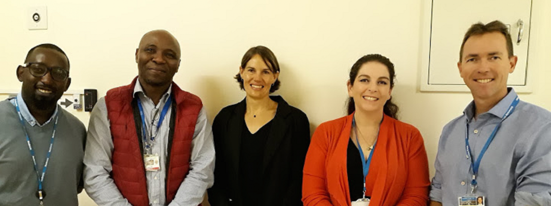 Investigator meeting for CAPTAIN Trial. Pictured from Left to Right: Edgar Lutaaya, Ikechi Okpechi, Alda Vermeulen, Lara Wiese, Robert Freercks